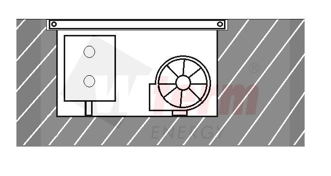 schéma řezu podlahovým konvektorem a nuceným oběhem